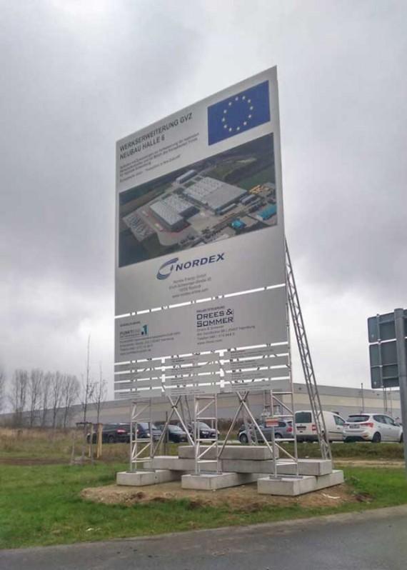 Bauschildmietsystem für Nordex, Rostock